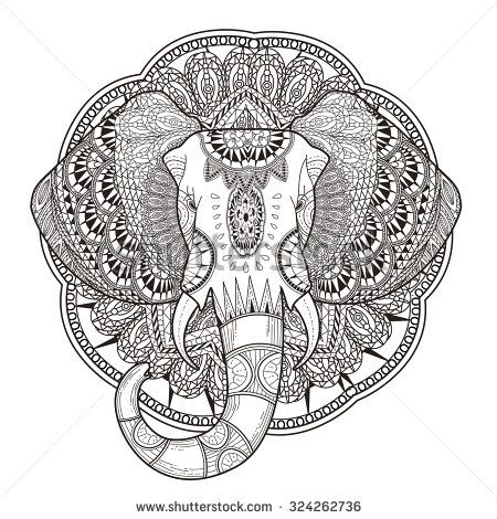 graceful elephant coloring page in exquisite style - stock photo