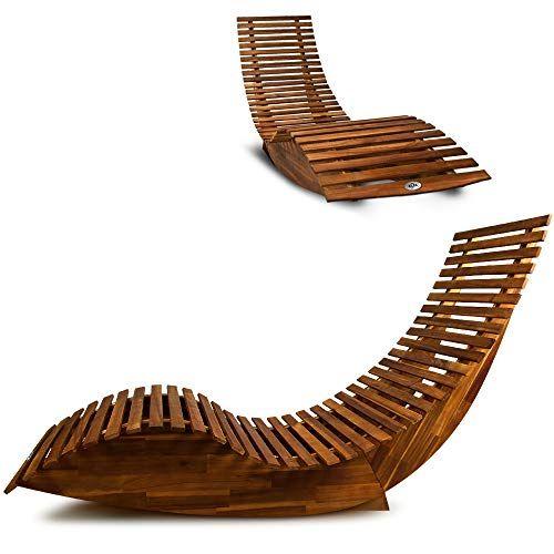 Chaise longue à bascule en bois - Transat ergonomique - Jardin/plage ...