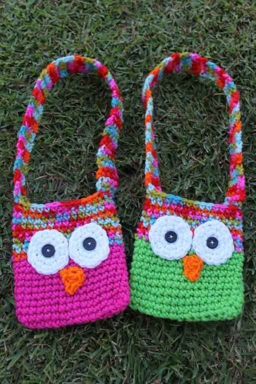 Kids Crochet Owl Bags with Strap | Häkeln, Gehäkelte taschen und ...