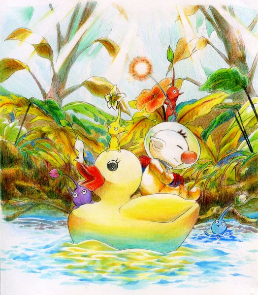 Olimar & Pikmins sailing in a rubber duck.
