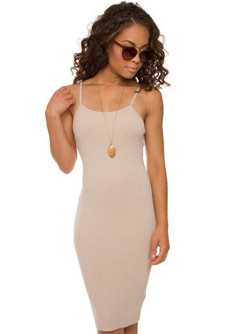 Anna Ribbed Dress - Taupe