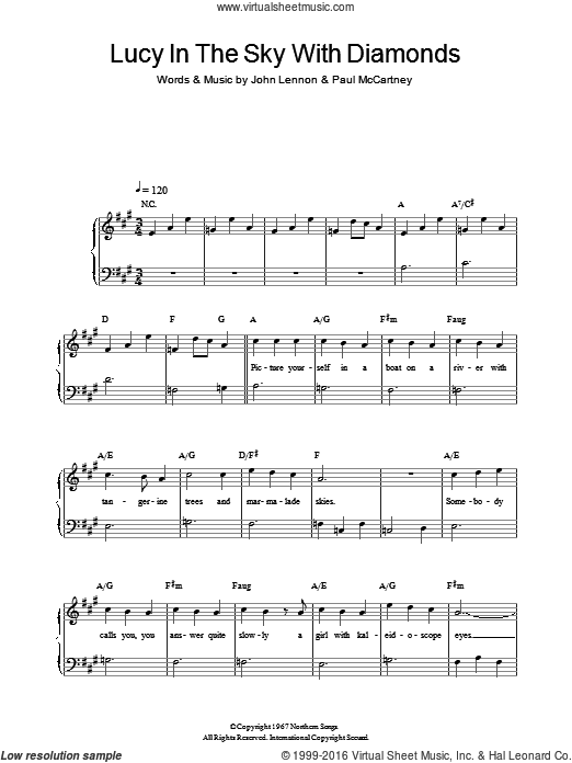 Beatles Lucy In The Sky With Diamonds Sheet Music Easy Version 2 For Piano Solo Sheet Music Beatles Sheet Music Virtual Sheet Music