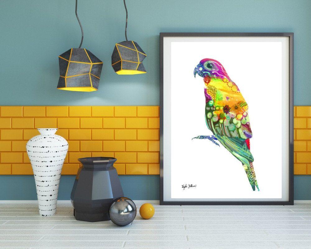 Parrot print, Tropical print, Bird print, Parrot art, Parrot wall ...