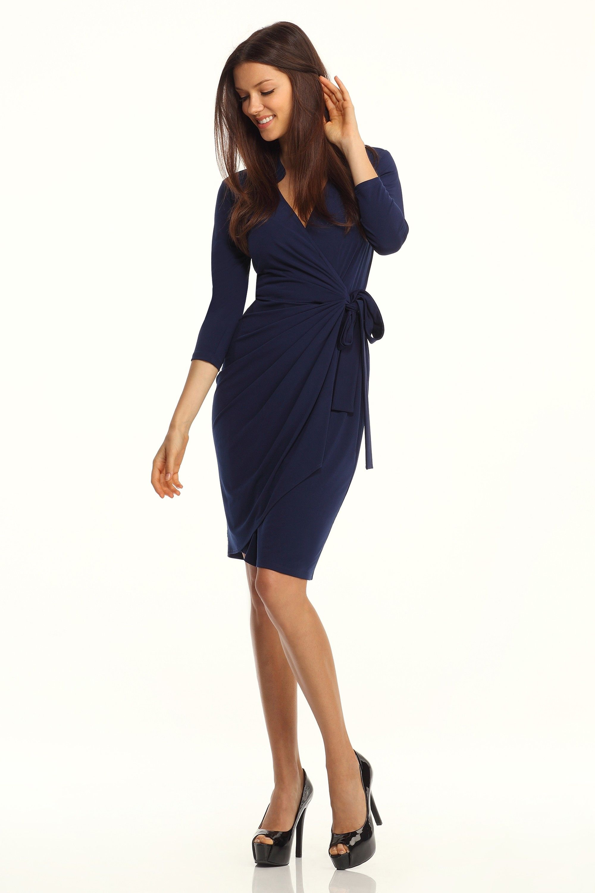 Navy Long Sleeve Wrap Dress by Maggy London