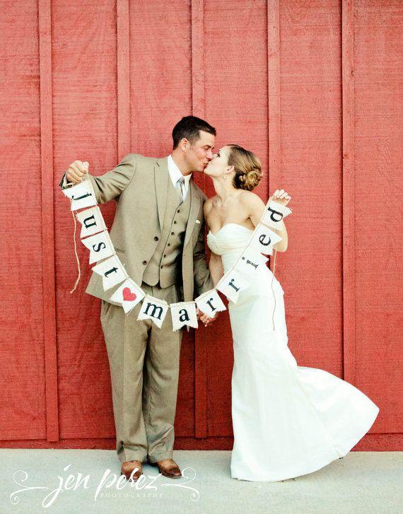 Nur verheiratet Sackleinen Banner - Hochzeit Banner - Fotografie schießen - GIRLANDE Hochzeit - Just Married