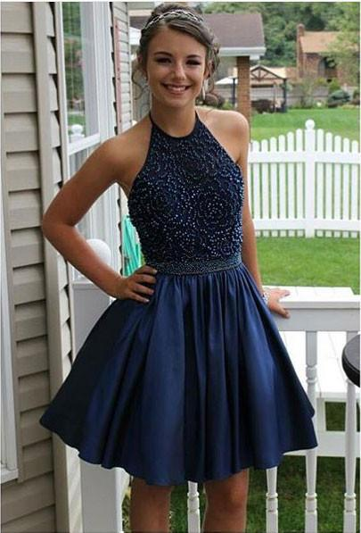 4c6104c355a Royal Blue Beaded Halter Homecoming Dresses Backless Short Prom ...