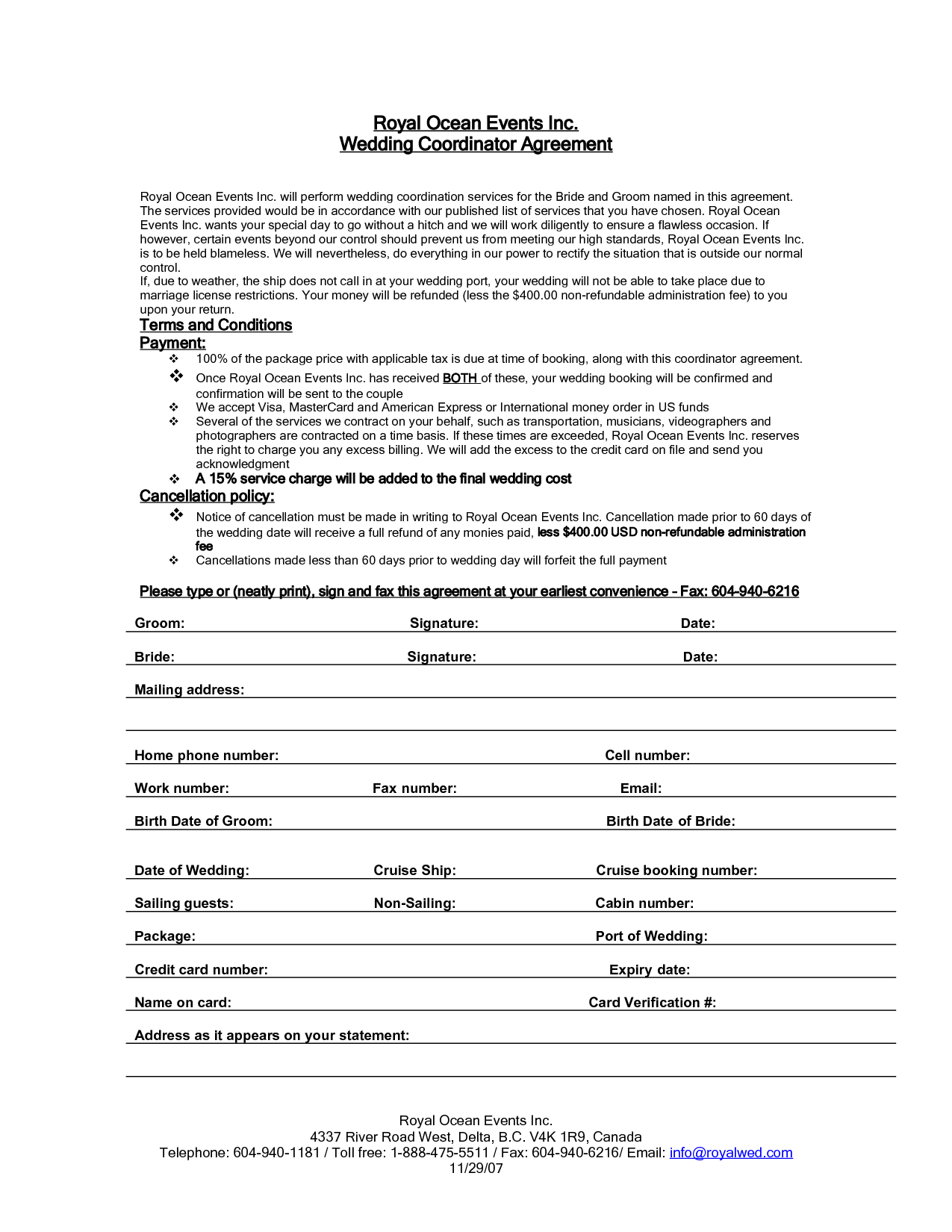 Wedding Planner Contract Agreement Life hacks – Event Coordinator Contract Sample