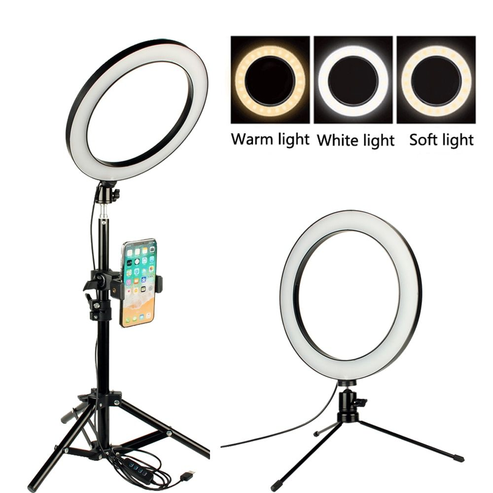 Ring Light 9.8 Inch 128 Bulbs LED Ringlight Dimmable Round