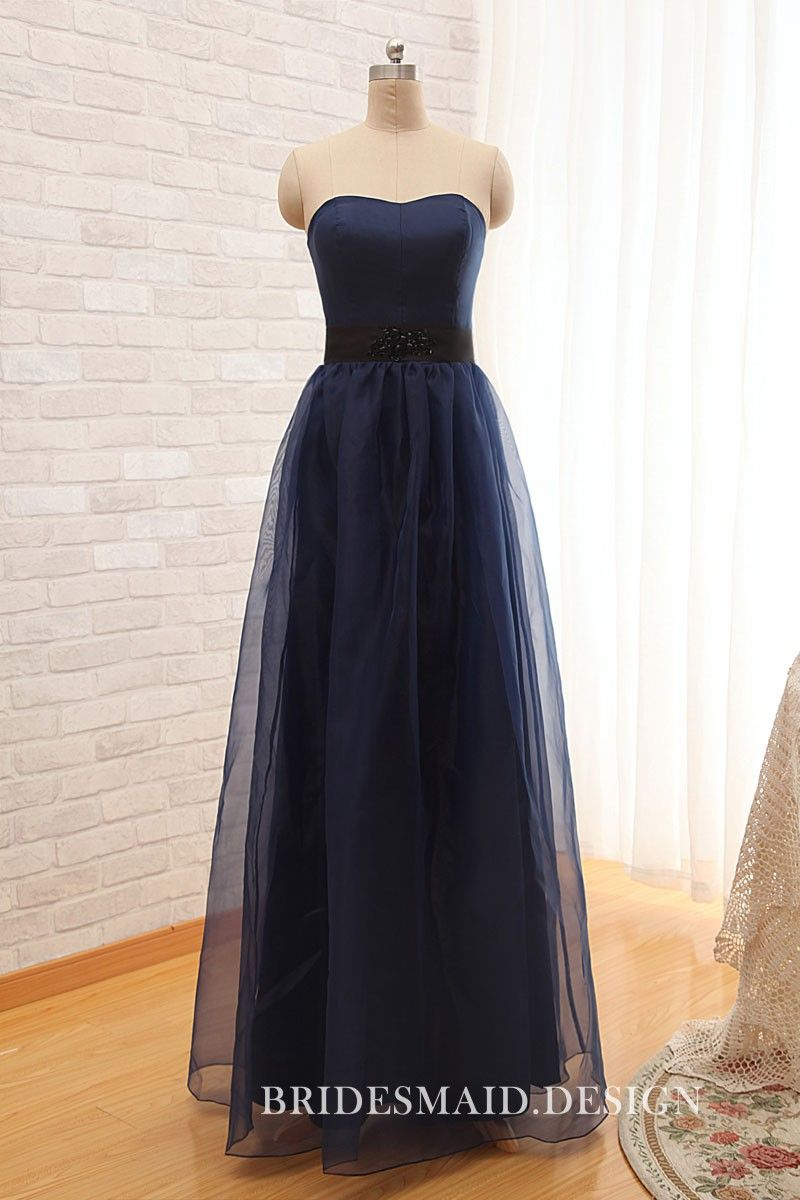 fc271e5c1e62 Vintage navy satin long bridesmaid dress with sheer net overlay. Strapless  curved neckline