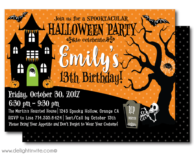 Halloween Birthday Party Invitation - DIY Printable - Chevron Chic ...