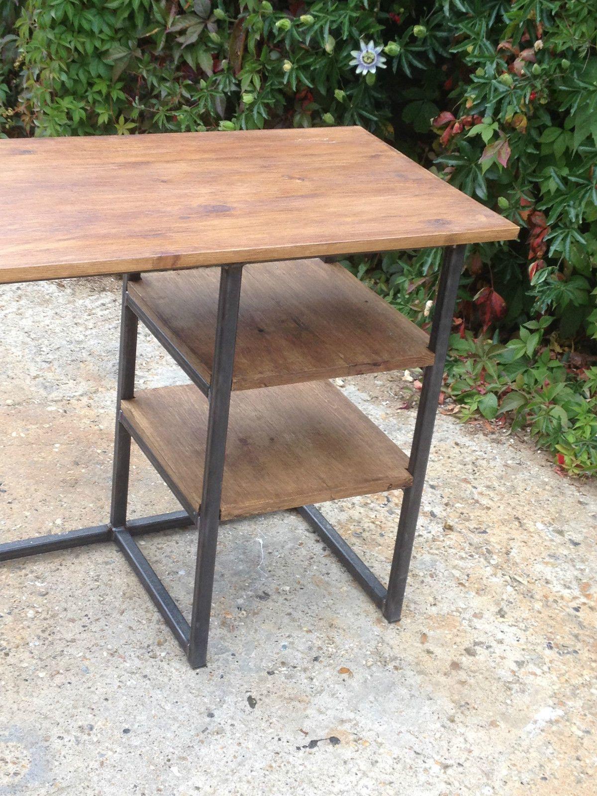 Vintage Modern Rustic Industrial Home Office Desk Metal Frame With - Diy office desks for modern home
