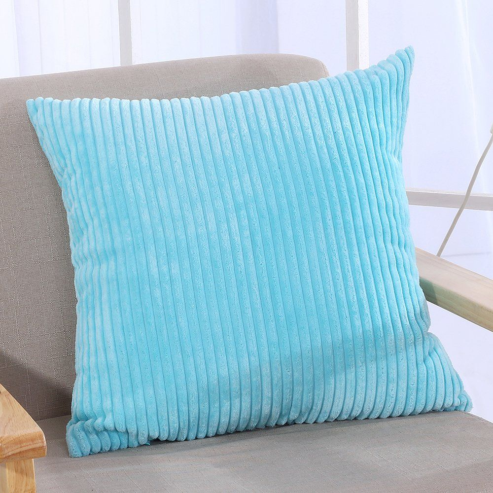 Famibay throw pillow cover 24x24striped corduroy cushion cover for sofa pillow case covers with zipper decorative 24 x 24 turquoise visit the image link