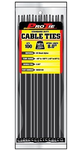 Pro Tie B8sd100 8 Inch Standard Duty Cable Tie Uv Black Nylon 100 Pack By Pro Tie 7 10 Pro Tie Standard Duty Cable Ties Are Made From High Strength And Lig