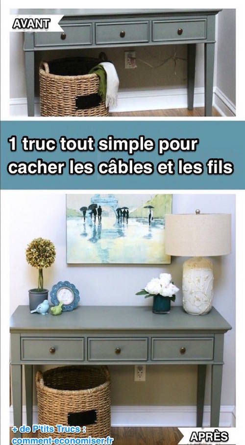 1 truc tout simple pour cacher les fils et les c bles cacher les fils cacher et fils. Black Bedroom Furniture Sets. Home Design Ideas