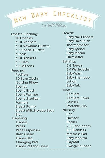 Free Printable New Baby Checklist From HttpWwwOnesmallchild