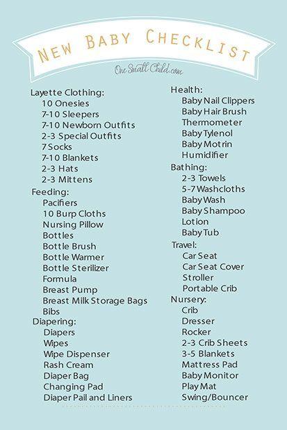 Free Printable New Baby Checklist From HttpWwwOnesmallchild