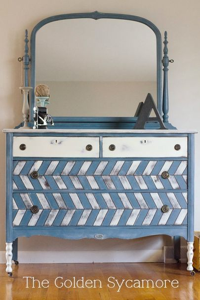 20 Dreamy Dresser Makeovers, Painted Furniture, I M Crazy About This  Herringbone Pattern