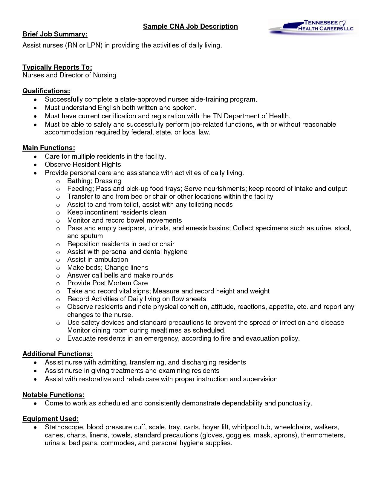 Sample CNA job description   RCFE   Pinterest   Job description