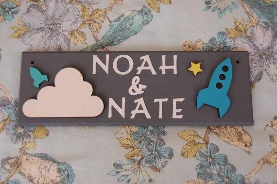 Space Rocket Personalised Door Name Sign Plaque Plate Children\u0027s