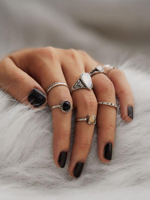 891546869b Geometric Design Ring Set 8pcs -SheIn(Sheinside) #ad   Accessories ...