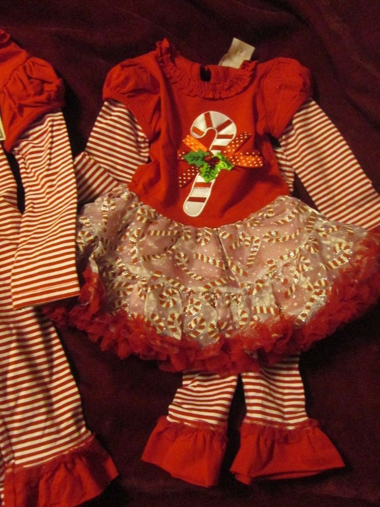 1601ba240a6c6 Rare Editions Girl s Christmas 2 Piece Outfit Tutu Dress Leggings Candy Cane  New  fashion