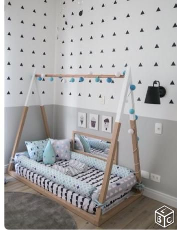 lit tipi au sol inspiration montessori home decor pinterest bebe. Black Bedroom Furniture Sets. Home Design Ideas