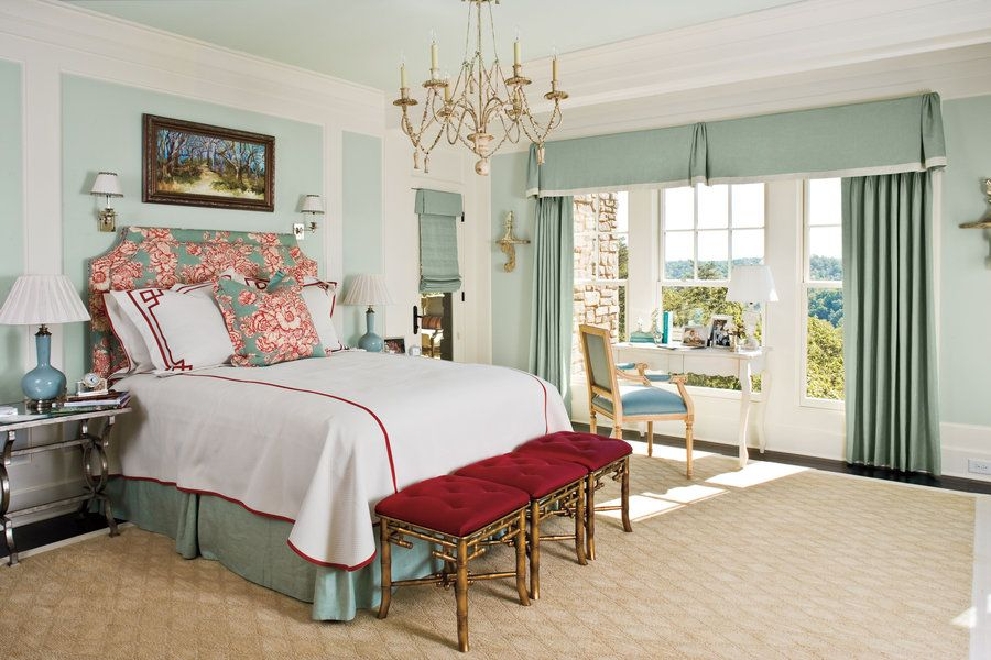 Molding - Style Guide: Dress Up Bedroom Walls - Southernliving. Apply wood molding to flat walls to create pattern or highlight a specific area. This is also a great way to define areas for a color change.