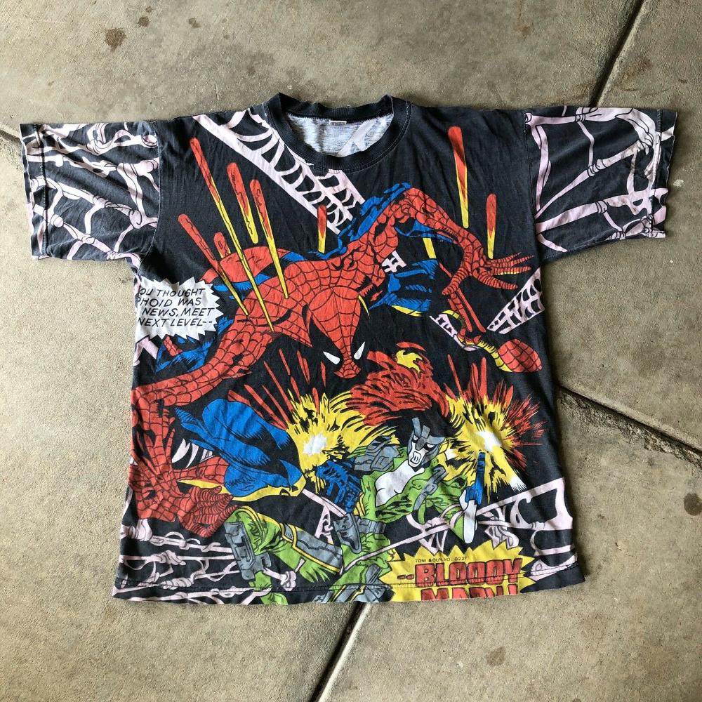 Vintage All Over Print Spiderman T Shirt Marvel Comics 90s Bootleg Ebay In 2020 Marvel Shirt Marvel Merchandise Black Comics