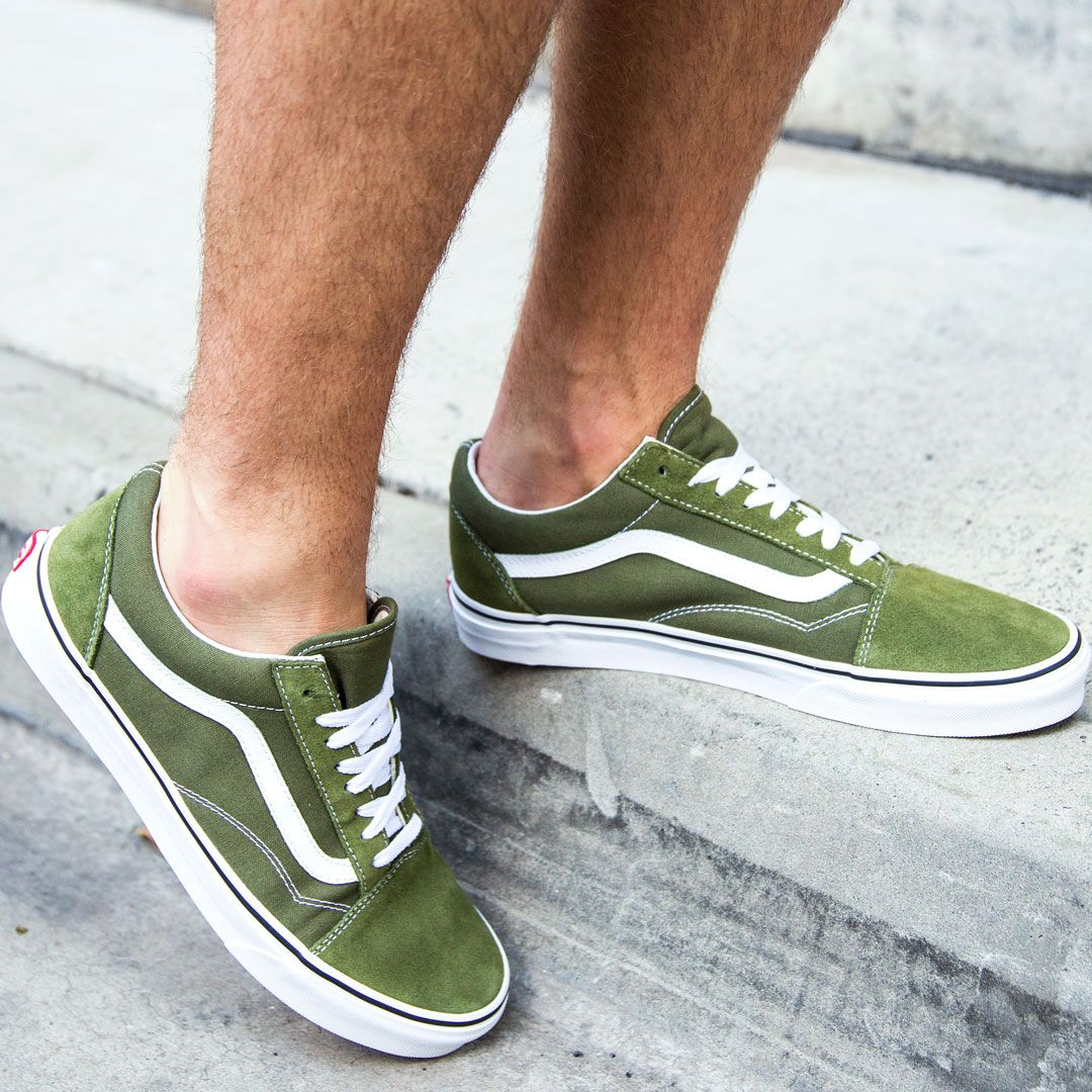 77dc51fd1a2e92 Vans Mens Old Skool Shoes - Winter Moss True White