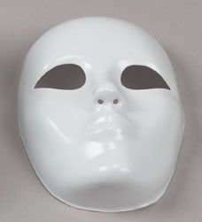 Full Face Mask Form- Base - Costuming, Crafts, Fashion Accessories,Burlesque, Theater, Mardi Gras, Carnival, Mask Making. $4.00, via Etsy.