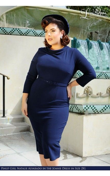 Laura Byrnes California- Joanie Dress in Navy Ponte de Roma Knit - Plus Size | Pinup Girl Clothing