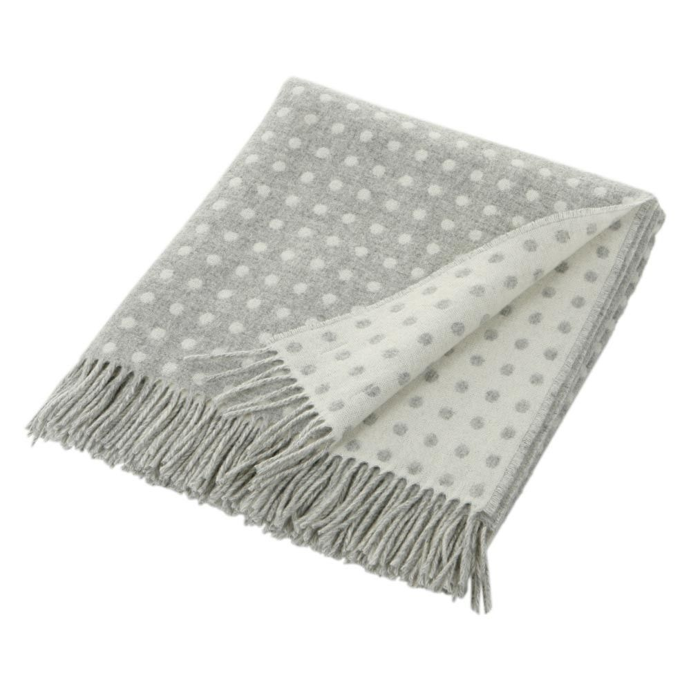Grey White Dot Throw Lambs Wool By Bronte