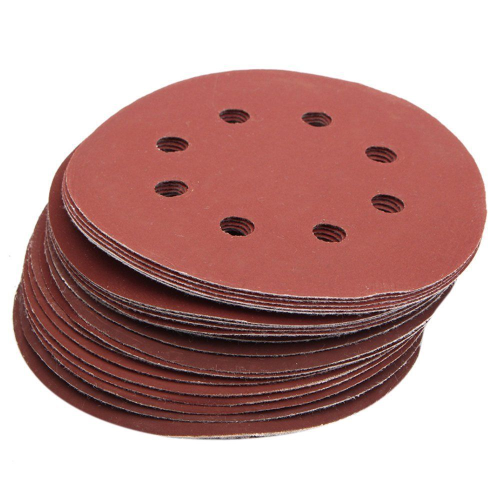 25Pcs 5inch 8 Hole Grit 600# 1000# 1200# 1500# 2000# Sander Disc Sandpaper G4R4