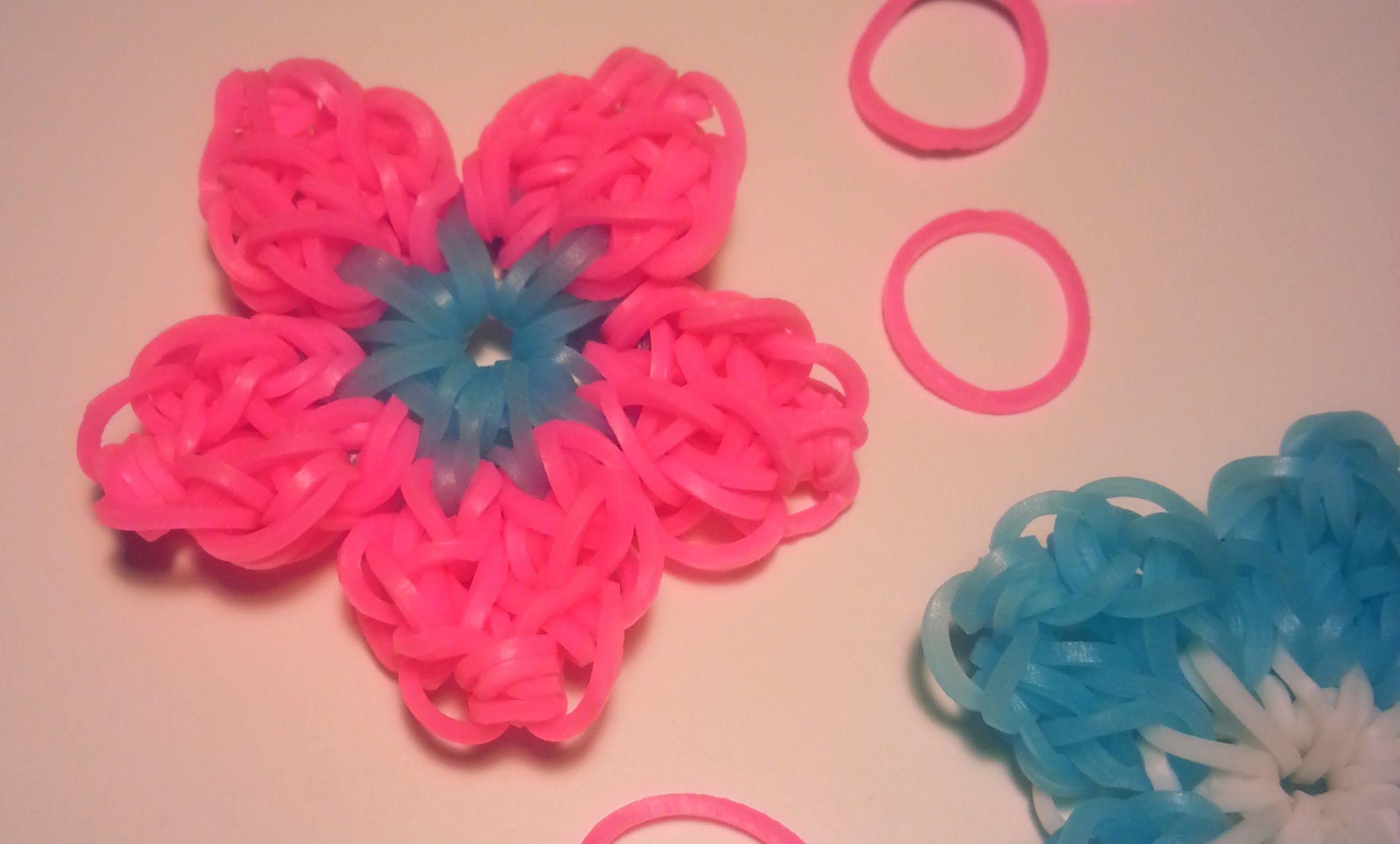 comment faire une fleur avec des élastiques sans machine   rainbow