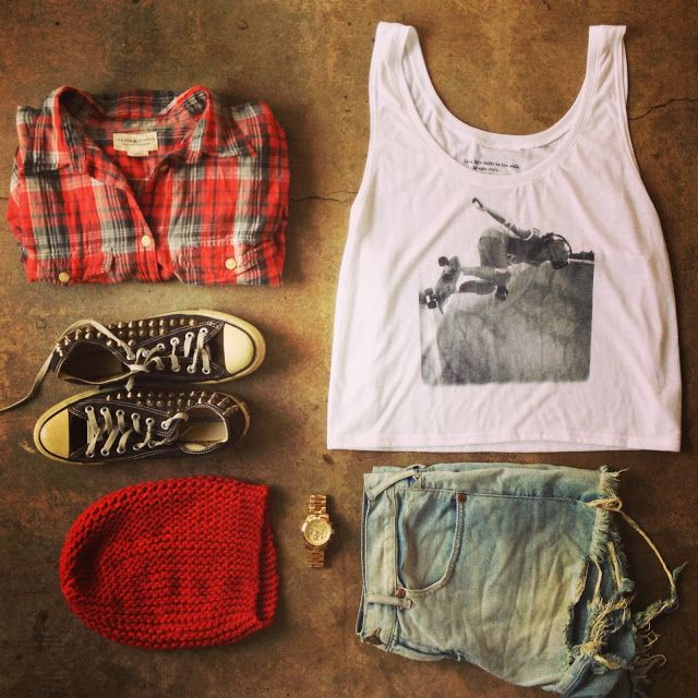 """Retro Skater Girl tank top by """"Girl is NOT a 4 Letter Word"""",  converse studded sneakers, beanie, ripped jean shorts and a flannel. Michael Kors watch"""