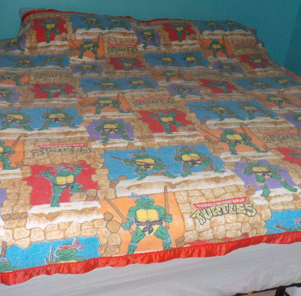 Vintage TMNT Teenage Mutant Ninja Turtle Blanket 6'x7' Satin Trim