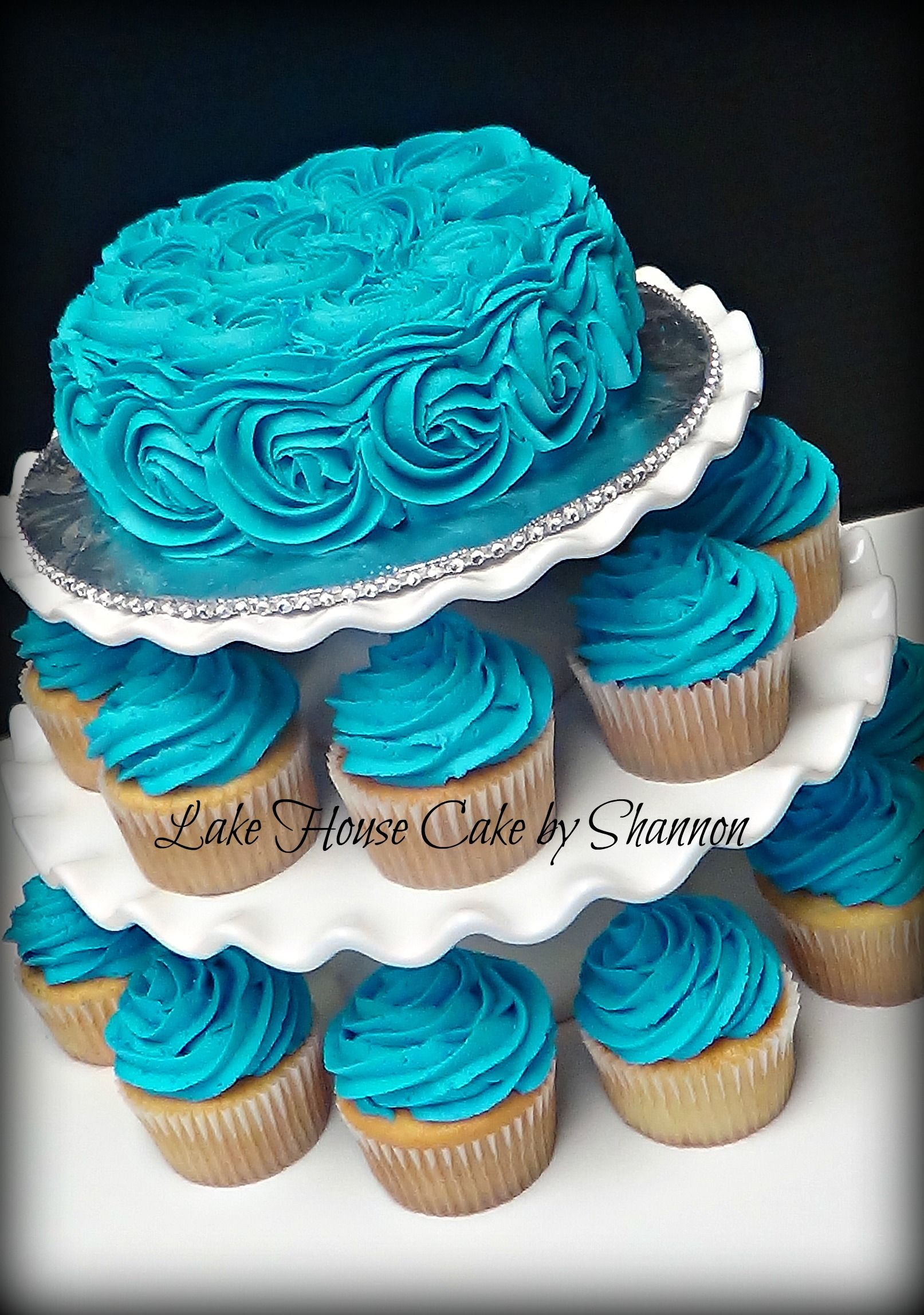Sky Blue Cake Images : Cupcake Stand Turquoise Teal Sky Blue Rosettes Bling Lake ...