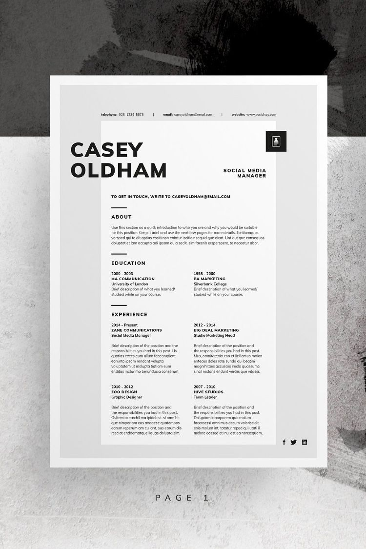 Resume/CV Casey For those looking for a professional