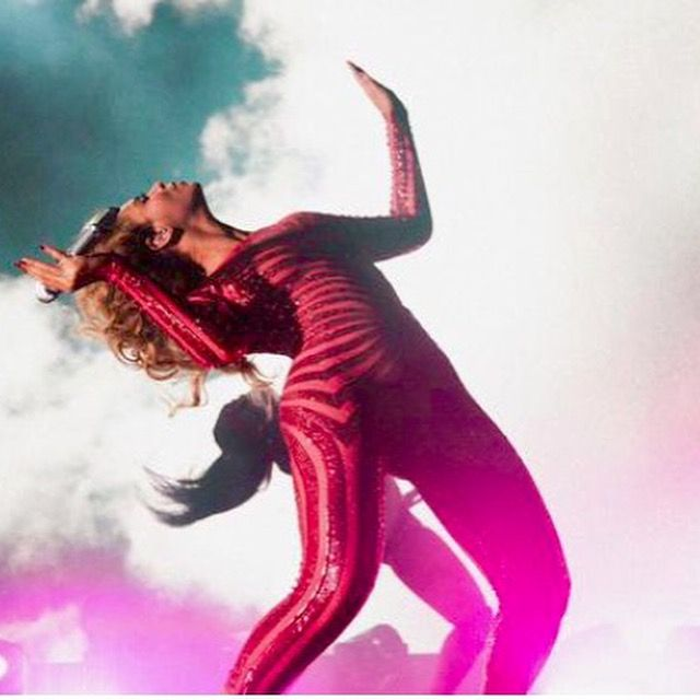 Beyonce wearing Marc Bouwer Couture for Vegas Show