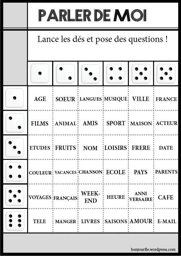Populaire Jeux avec des dés | French class and Homeschool FP66