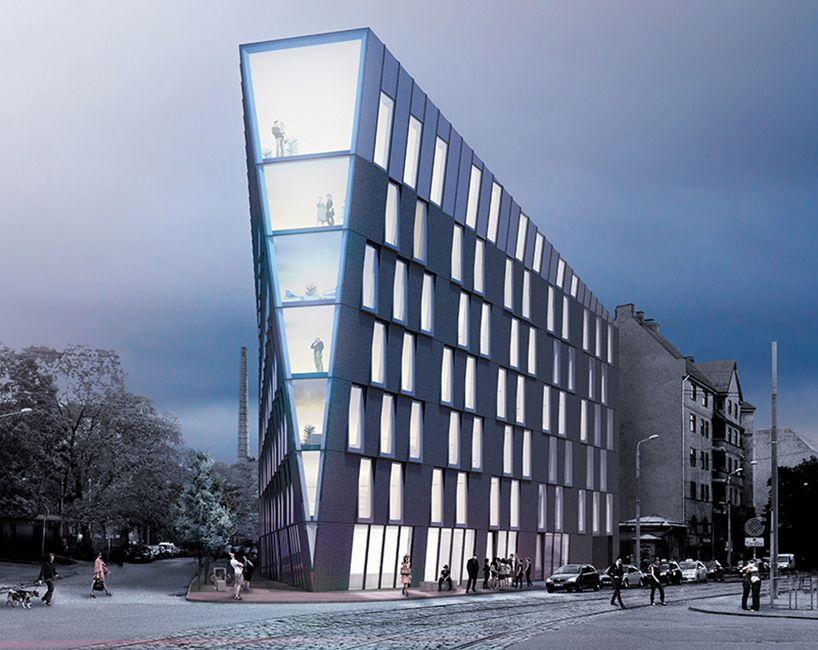 nrja conceives multi use office building in riga latvia architecture pinterest. Black Bedroom Furniture Sets. Home Design Ideas