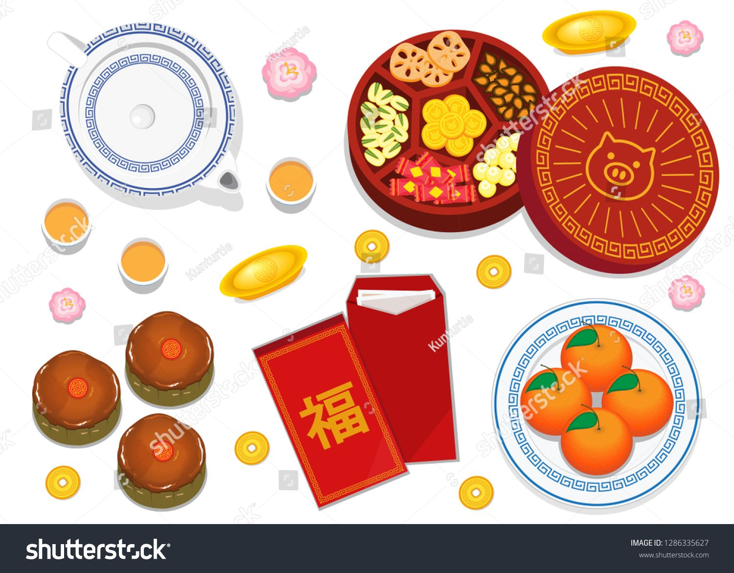 Illustration Vector Flat Cartoon Of Happy Chinese New Year Concept Isolated Table Decoration Food Sweet Chinese New Year Food Food Illustrations Food Cartoon