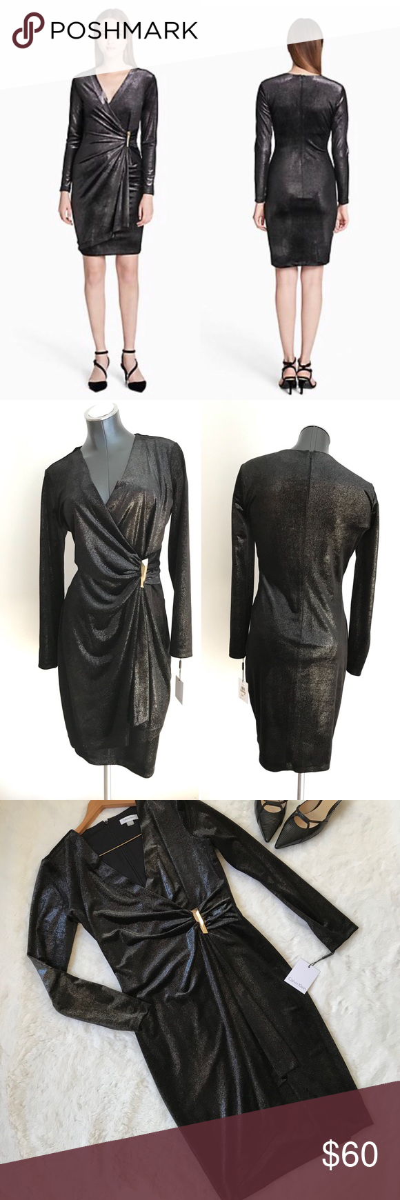 695ca3a3 Calvin Klien Black velvet glitter wrap dress party Constructed with a wrap  silhouette, this stunning