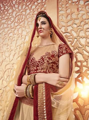 9b9bd1dd7e Cream & Maroon Butterfly Net Bridal Lehenga Choli Shop ,Indian Dresses - 2