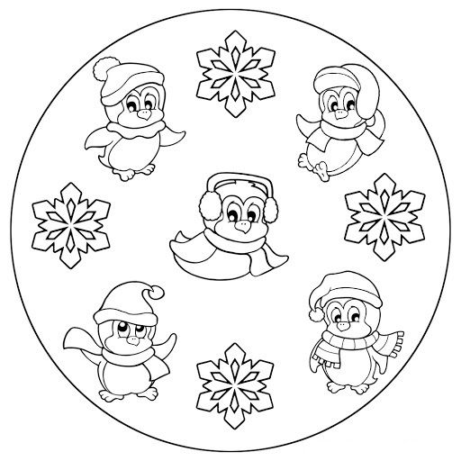 Winter Mandala Coloring Pages 6 Mandala Mandala Coloring