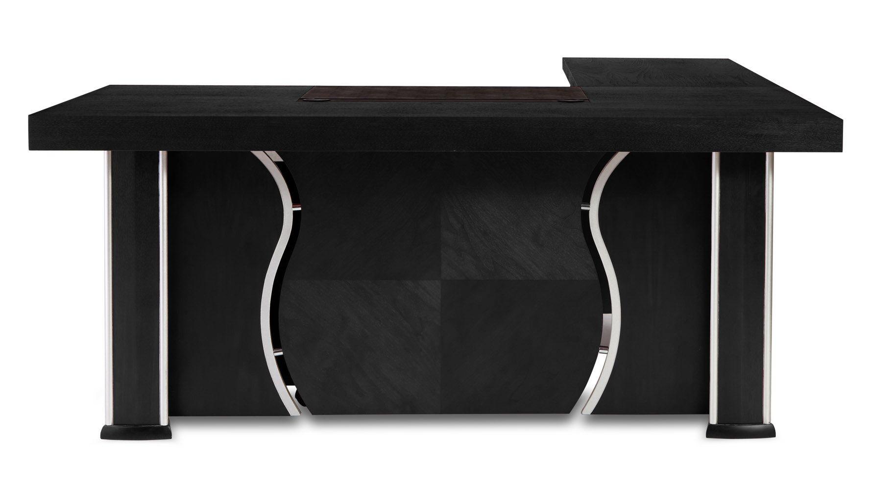 Pierce black oak modern desk with storage zuri furniture