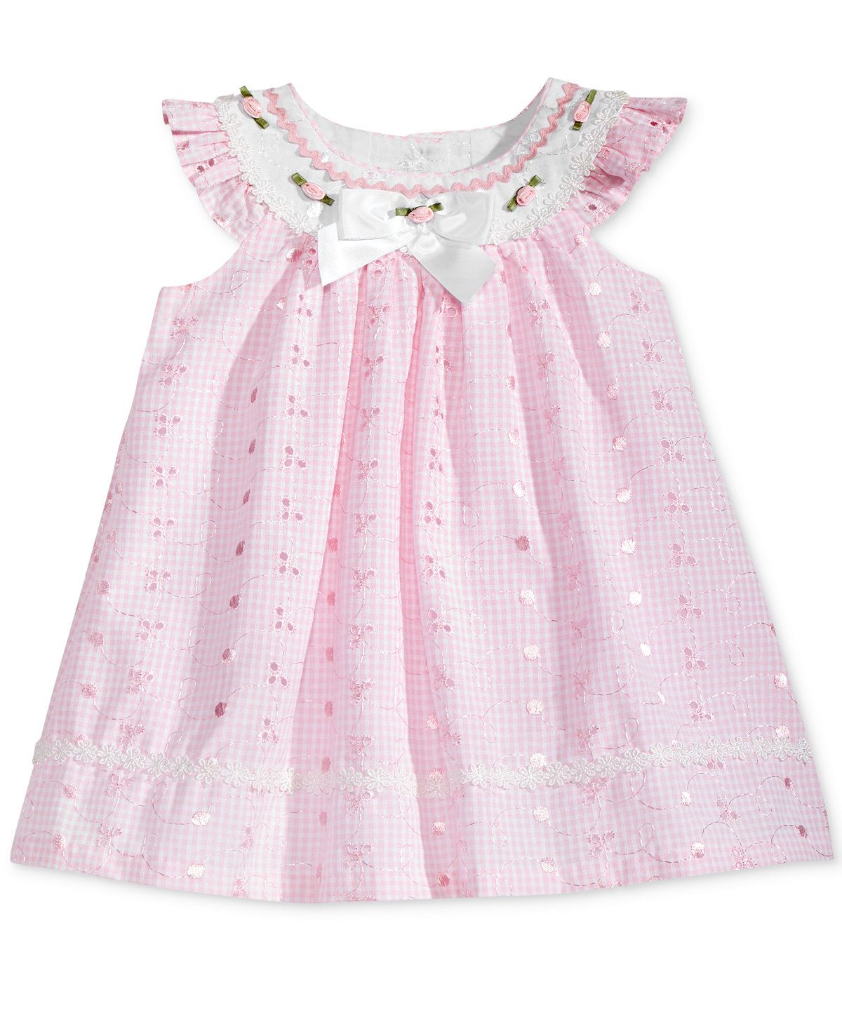 e32ef67d8a28 Bonnie Baby Flutter-Sleeve Eyelet Trapeze Dress, Baby Girls (0-24 months) -  All Baby - Kids & Baby - Macy's