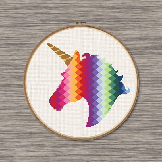 Rainbow Unicorn Pdf Cross Stitch Pattern Unicorn Cross Stitch