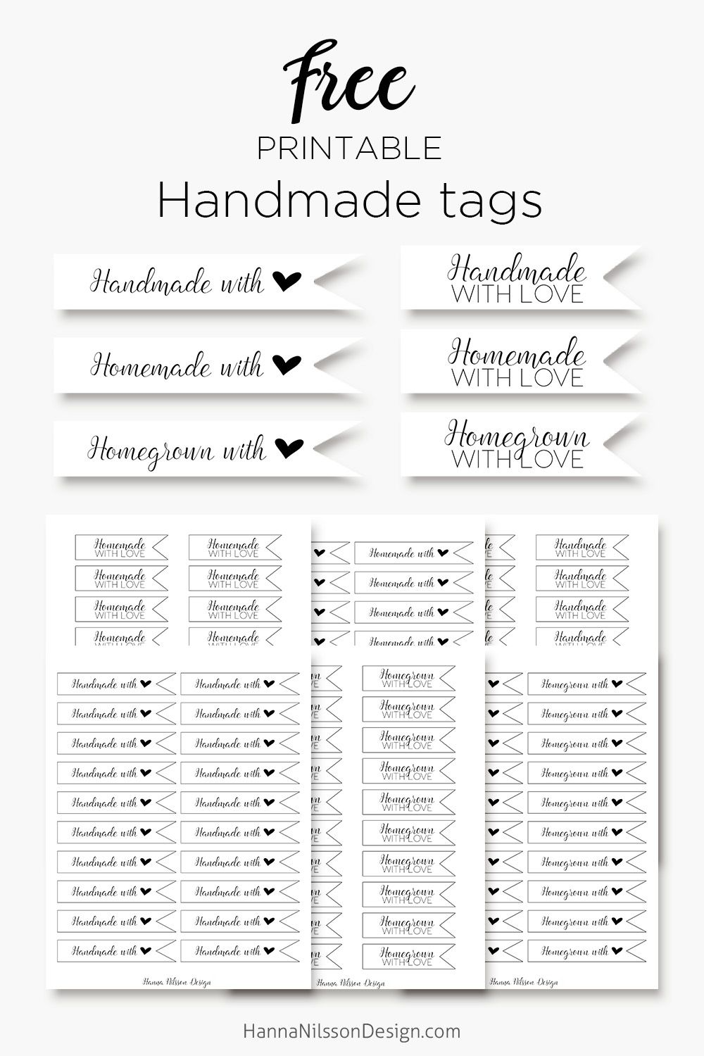 Homemade, handmade and homegrown - with love Tags - FREE printables ...