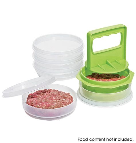 Exceptional Hamburger Press And Store.Make Perfect Burgers Every Time. Six Stackable  Storage Containers With Sealable Lids Plus One Press Plate.